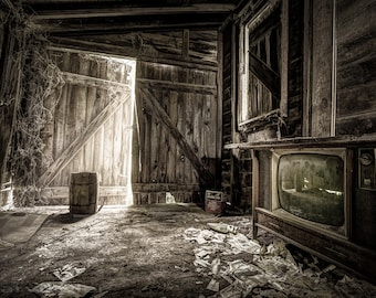 Inside Leos Apple Barn Vintage Television Old Newspapers Barrel Crate Sepia Rustic Interior Fine Art Photography Print