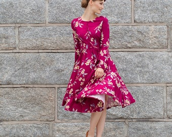 Marsala midi floral dress