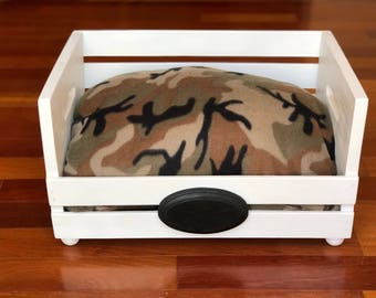 Army Camouflage Pet Bed | Wooden | Handmade