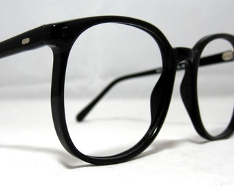 Vintage 80s Large Square Horn Rim Eyeglass Frames. Black.