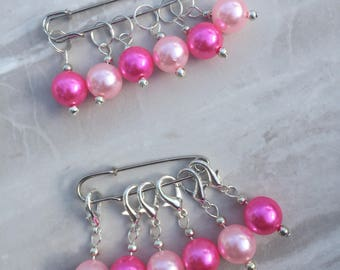 Pink Pearl Bead Stitch Markers, stitch markers, knitting supplies, progress markers, progress keepers, craft supplies, crochet markers
