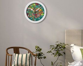 Printable clock face, digital painting, wall hanging, wall clock, DIY home decor for instant download