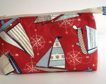 SAILING AWAY BLUE Sailboats 100% cotton duck fabric Cosmetic Bag, gift bag with full width opening and nylon zipper closure