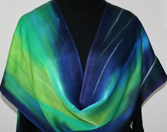 Northern Lights Silk Scarf Green, Turquoise, Navy Blue Hand Painted Silk Shawl AURORA BOREALIS, in 3 SIZES, by Silk Scarves Colorado.