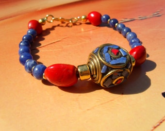 Lapis lazuli coral inlay bead Bahay seeds beads Sodalite bracelet