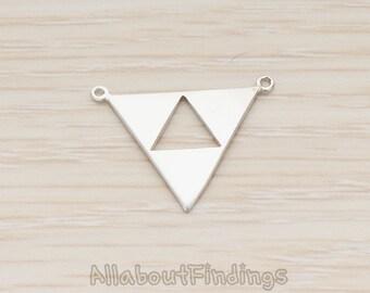 PDT1151-MR // Matte Original Rhodium Plated Geometric Aztec Triangle Pendant, 2 Pc