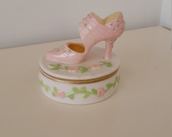 Pink High Heel Ceramic Candle; Girly Girl Decor; Beautiful Condition; Slightly Used; Vintage