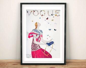 VOGUE BUTTERFLY POSTER: Pink Butterflies Handbag Cover, Art Print
