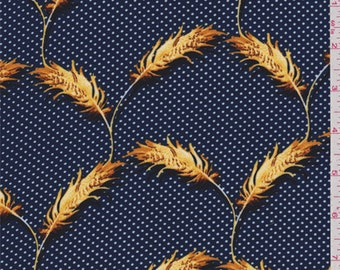 Navy/White Dot Double Georgette, Fabric By The Yard