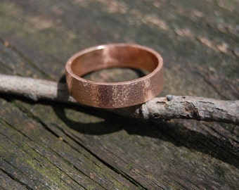 Handmade Hammered Rose Gold 5mm Sunny Day Wedding band size 10.5