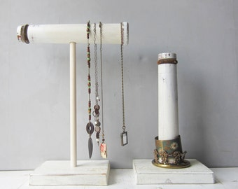 VOTRE choix bijoux rustique blanc affichage collier ou un Bracelet Vertical porte - Antique bois Textile bobines - Boho, Gypsy, Indie bijoux