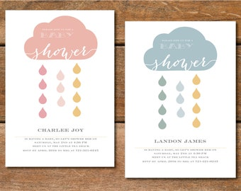 Baby Shower Invitation  •  Boy • Girl • Actual Shower • Welcome • Showering with Love • Custom Shower Invitation • Printable • Digital