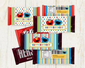 Sesame Street Candy Bar Wrappers Printable - Digital