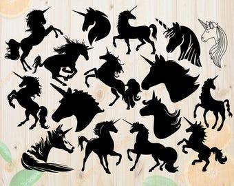 Unicorns Svg, Unicorns Silhouettes Svg, Dxf, Eps & Png Cutfiles, Unicors files for Cricut, Silhouette cameo, bundle, Unicorns Cliparts