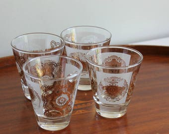 Mid Century Whiskey Glasses, Set of 4, Double Shot Glasses, Vintage Barware, Dominion Glass