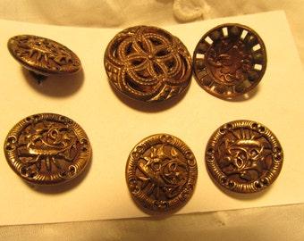 antique buttons, small metal assortment, 4 matching brass metal floral