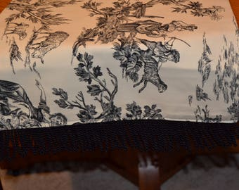 Toile Table Runner/Scarf with fringe trim
