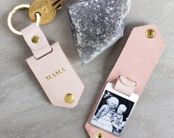 Unique gift ideas etsy personalised metal photo keyring in pink leather case with gold foiled initials birthday mothers negle Choice Image