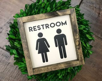 Restroom Sign | Bathroom Wall Decor | Farmhouse Bathroom Sign | Farmhouse Sign | Farmhouse Decor | Fixer Upper Style | Bathroom Decor | Home