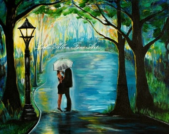 "Couple In Love Couple Painting Couple Hugging  Romantic Romance Loving Special Moment  ""My Soul Mate""  Valentine Leslie Allen Fine Art"