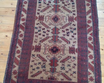 Vintage Afghan KAWDANI rug in natural wool.