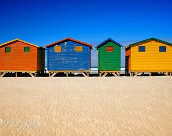 ICONIC BEACH Hut Landscape Photography Colorful (LARGE) wall art Red Blue Green Yellow Nature Cape town South Africa sand sea sun sky summer