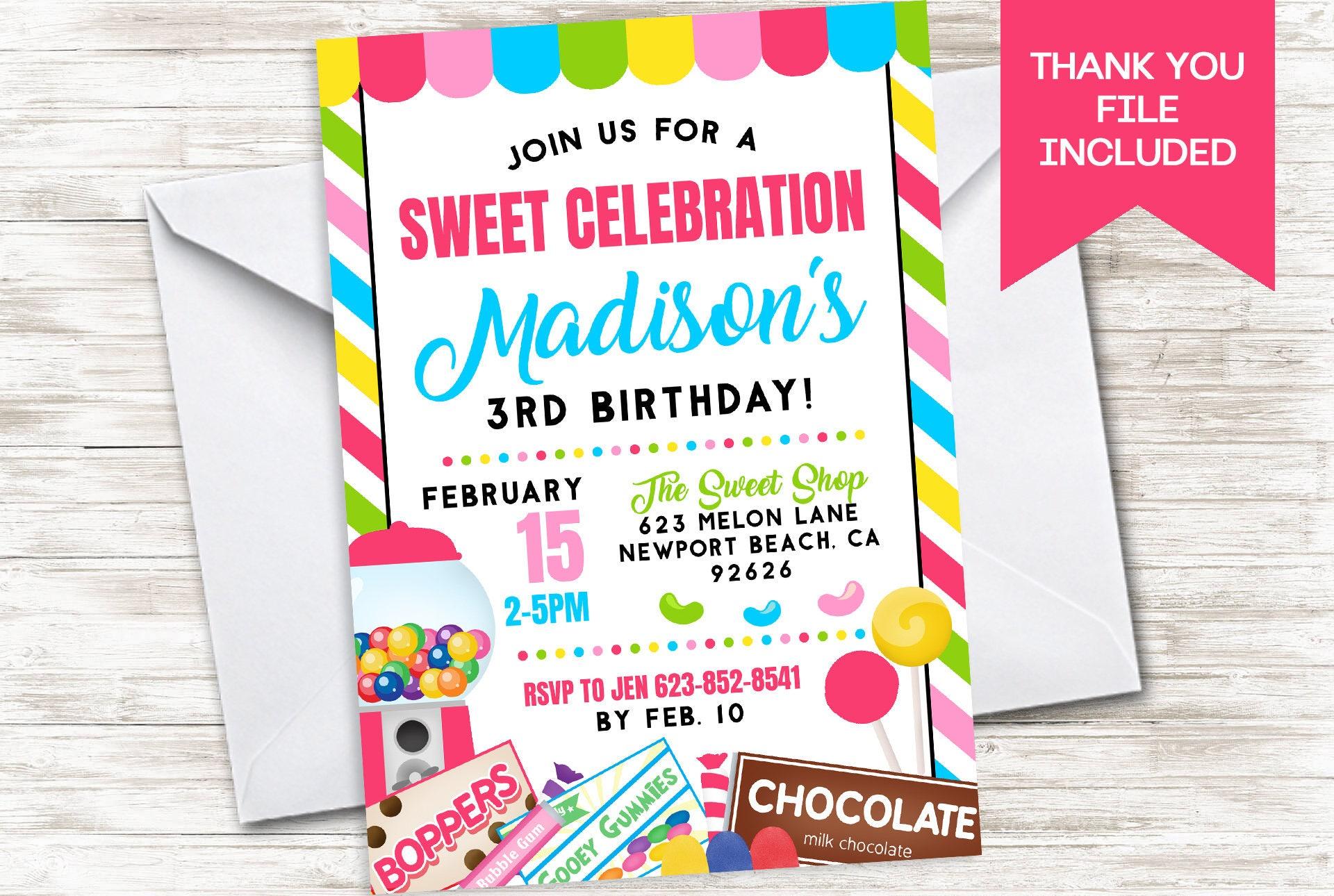 Candy Invite Invitation Birthday Party Digital 5x7 Candyland