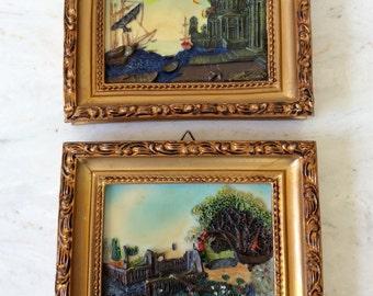 Vintage 3D, Gold Ornate Framed Pictures, Set of 2, Italian Scenes, Ships, Gondala, Coastal, Italian, Cottage, Statement Wall Decor