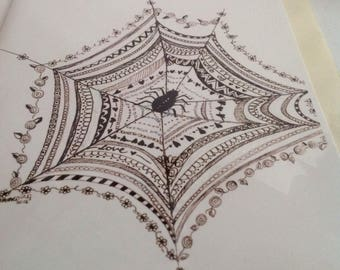Halloween Card, Web of Love Card, Spider Web Card, Doodle Design greeting card