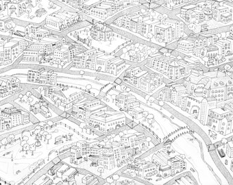 Dublin/London Inspired Map Print // Illustration Print // Map Art // London Map