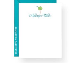 South Carolina Palmetto Moon Notecards - PRINTED - Set of 8 South Carolina Stationery, Charleston SC Gift Personalized by Palmetto Greetings