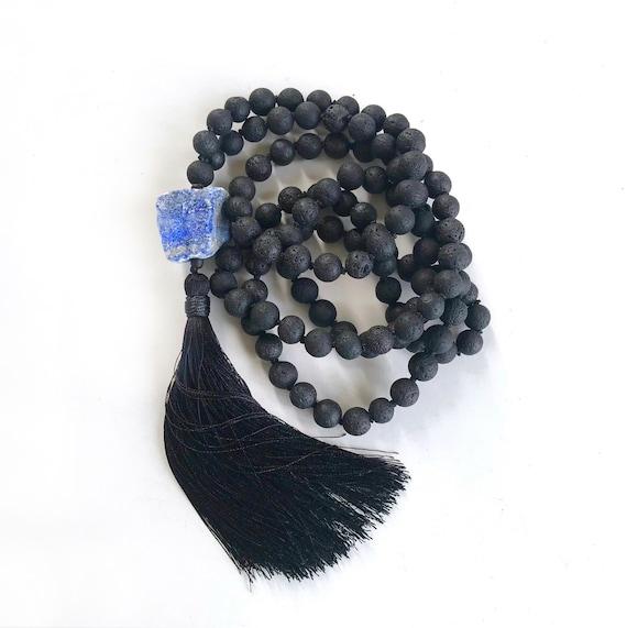 Mala To Keep Away Negative Energy, Black Lava Mala, Grounding Mala Necklace, Lapis Lazuli Mala Beads, Hand Knotted 108 Bead Mala
