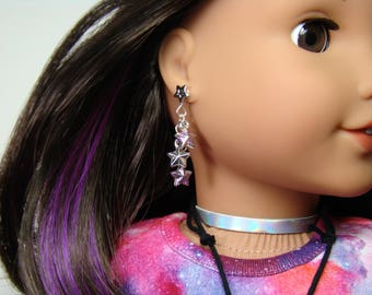 "Glitter Silver Stars Earring Dangles for 18"" Play Dolls such as American Girl® Luciana"