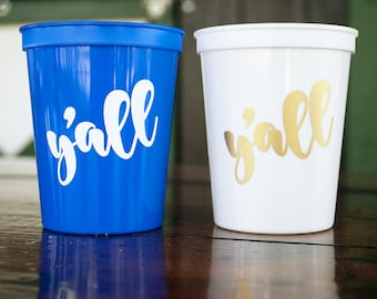 Y'all 16 oz Plastic Reusable Stadium Party Cups