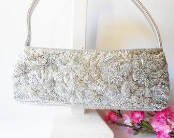 Silver Evening Bag, Beaded Evening Bag, Silver Beaded Bag, Vintage Silver Bag, Sparkly Bead Bag, Sparkly Silver Bag  EB-0309
