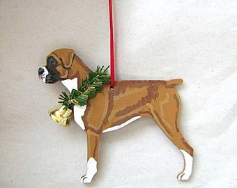 Hand-Painted BOXER FAWN Natural Ears Wood Christmas Ornament...Artist Original, Christmas Tree Ornament Decoration