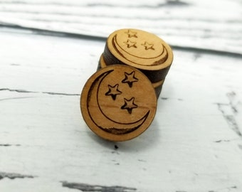 12mm   Mini gravé bois lune et étoiles   Cabochons de Stud boucles d'oreilles embellissements   Découpé au laser