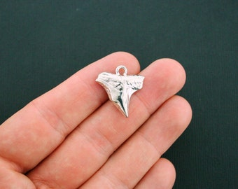 2 Shark Tooth Charms Antique Silver Tone 2 Sided Larger Size - SC5921