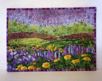 Fabric Postcard Spring Flowers, Quilted Postcard, Textile Art Card Flowers, Nature, Fields, Purple Yellow, Mini Art Quilt, Fabric Collage