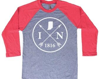 Homeland Tees Indiana Arrow Tri-Blend Raglan Baseball Shirt