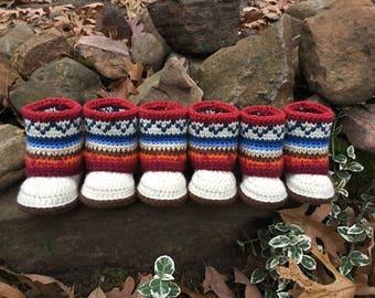 Mini Mukluk Booties/ Mukluk Baby Boots/ Mukluk Baby Booties Crochet/ Infant Mukluks/ Crochet Pattern/ Mukluk Pattern/ Baby Mukluks Pattern