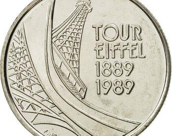 france tour eiffel 5 francs 1989 paris ms(65-70) nickel km968