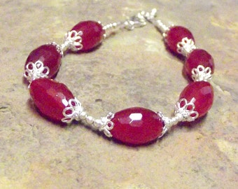Ruby and Sterling Silver Barrel Bead Bracelet/ Faceted Ruby Barrel Beaded and Sterling Bracelet- Free Shipping!
