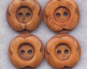 Wood Flower Buttons Decorated Wooden 23mm (1 inch) Set of 8 /BT280A