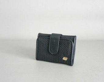 Women Vintage Credit Card Wallet Navy Vegan Leather