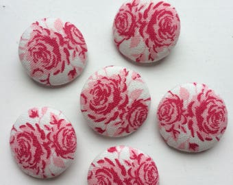 Tilda Cottage Rose White / Wintergarden Fabric covered handmade buttons - 6 pieces of 22mm buttons