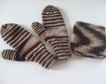 Hand Knit Mittens -Shades of Brown with Bag - for Ladies/Teens