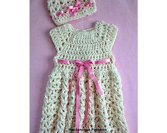 baby dress crochet pattern, baby dress and hat, baby shower gift, new baby gift, newborn to 3 months #2195, free shipping pdf instant