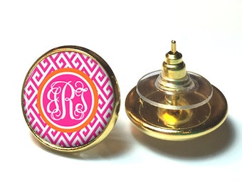 Pink Monogram Earrings, Monogram Stud Earrings, Monogram Post, Monogram Jewelry (531)