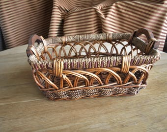 Woven Bamboo and Twine Basket Tray with Two Wooden Handles – Towel Holder Basket